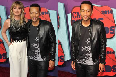 Where's Chrissy Teigen? <br/><br/>John Legend leaves his wifey at home, as he poses with country music star Jennifer Nettles.