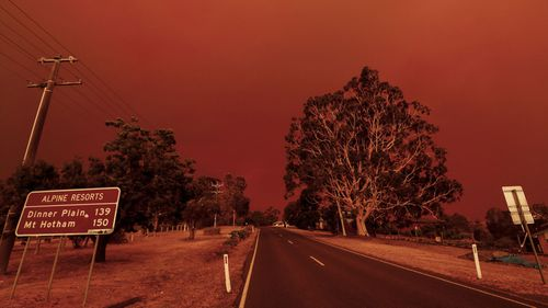 The sky turns red from the fires in Omeo on January 04, 2020 in Bruthen Australia.Evacuations Continue Across East Gippsland As State Of Disaster Is Declared