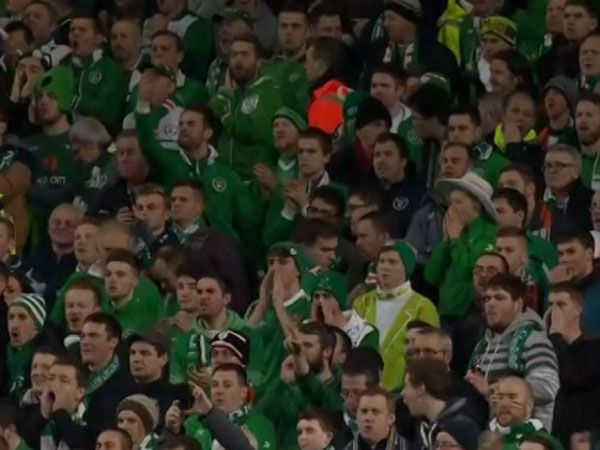 Irish fans boo Bosnia-Herzegovina fans for shouting furing the minute of silence before the two nations clashed in a Euro 2016 qualifier. (Supplied)