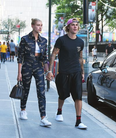 Justin Bieber and Hailey Baldwin seen on the streets of Manhattan on July 05, 2018 in New York.