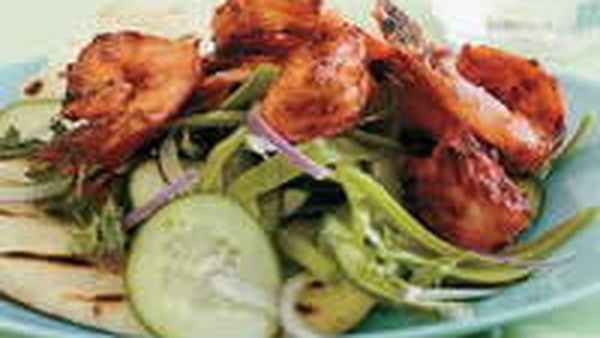 Tandoori Prawns with Green Salad, Grilled Naan and Cumin Yogurt