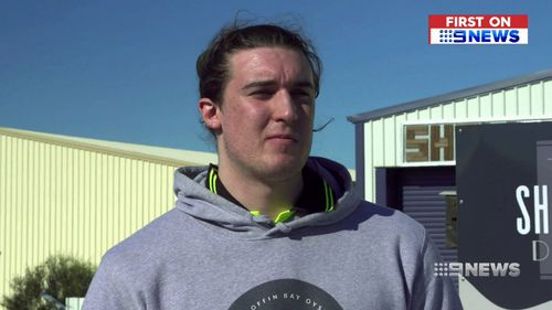 Aussie Brent Hank is nicknamed 'Big Tuna' at the University of Alabama in New York State, where he plays. (9NEWS)