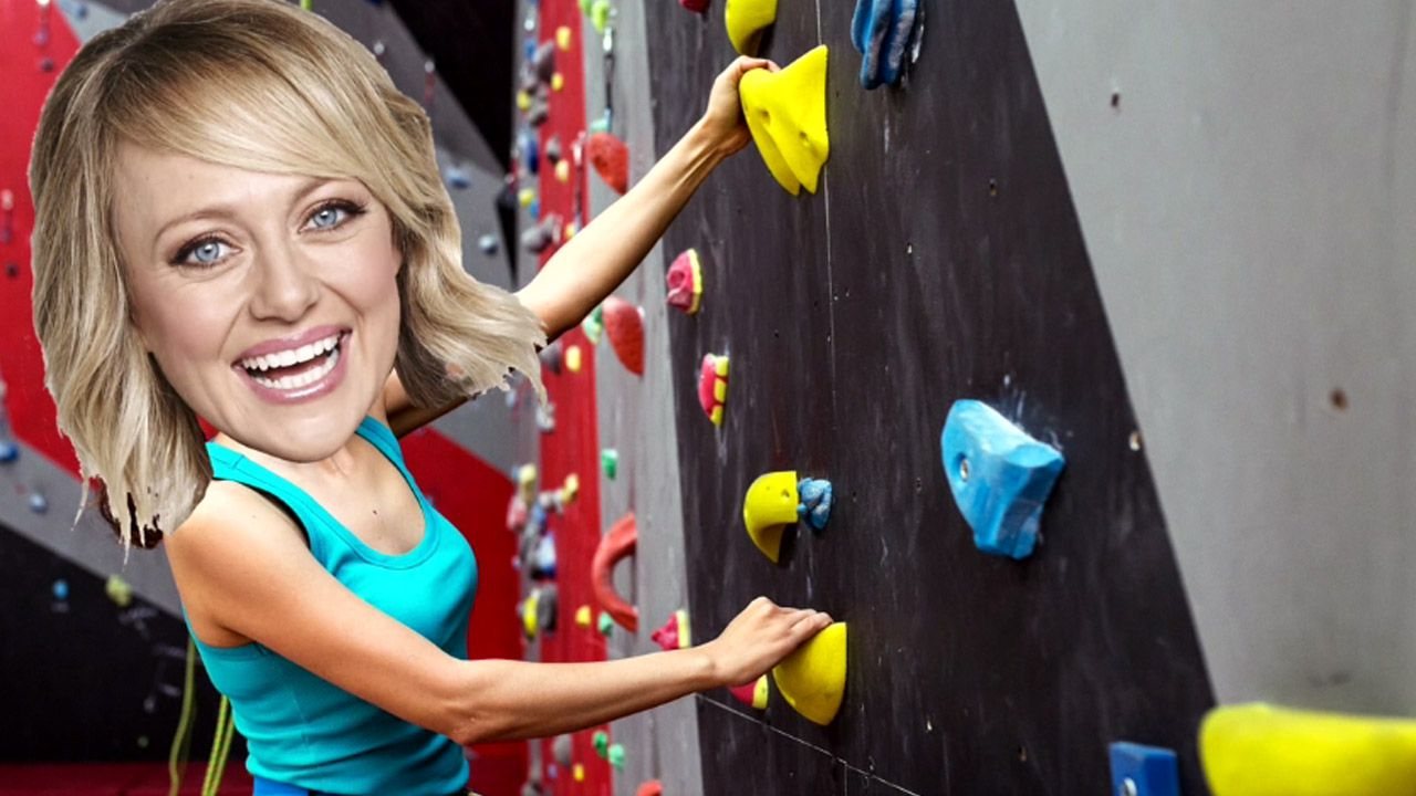 Sticks and Wombat's rock climbing wall gets Shelley excited