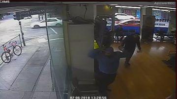 Toddler suffers facial injury after brawling men shatter window