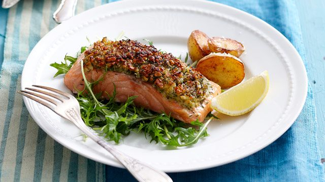 Almond-crusted salmon