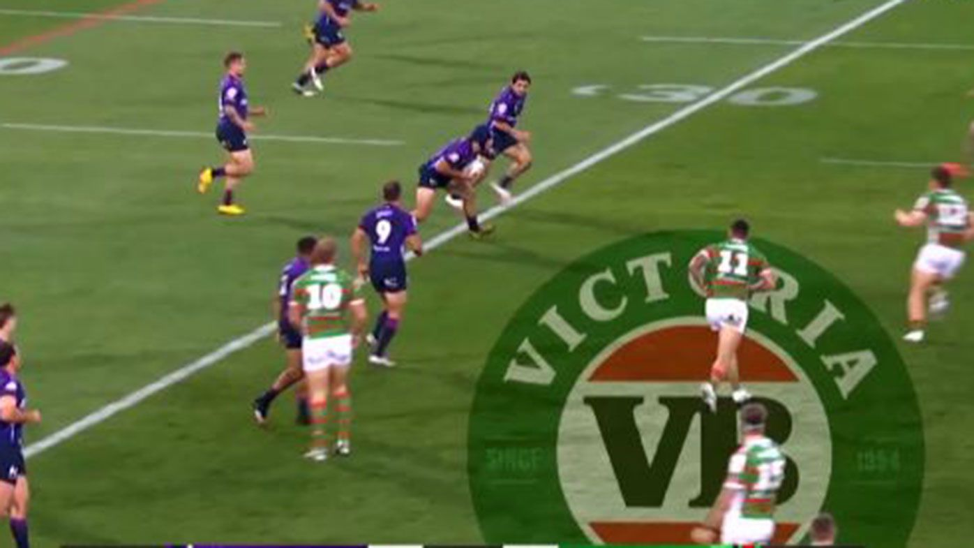 Melbourne's Jahrome Hughes was pulled up for this forward pass against Souths.