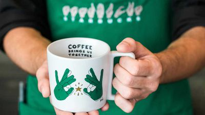 "Starbucks opens its first U.S. ""sign language store"""