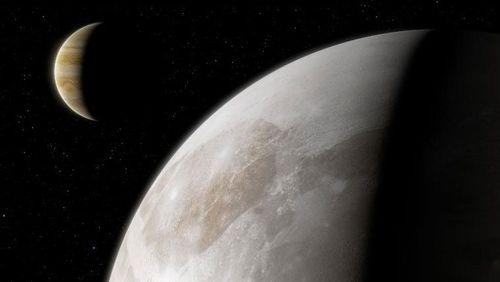 An artist's impression shows Jupiter's moon Ganymede.