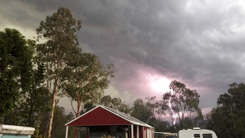 Lightning strike viewed from Ipswich. (Supplied, name withheld)