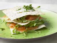 Salmon stacks with wasabi yogurt