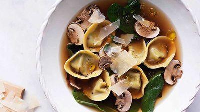 Chicken brodo with mushroom and mascarpone tortellini