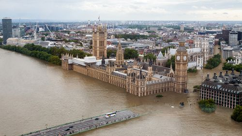 Water laps at London's Houses of Parliament. (Climate Central)