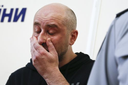 Babchenko broke down during the press conference, where he admitted he had to keep the secret from his wife. (AP/AAP)