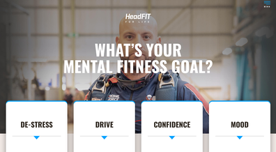 A screenshot of the newly launched HeadFIT website.