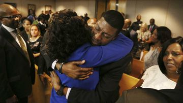 Odell Edwards weeps in court as his son's killer is found guilty of murder.