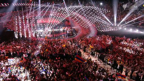 The excited crowd at the Eurovision grand final. (SBS)