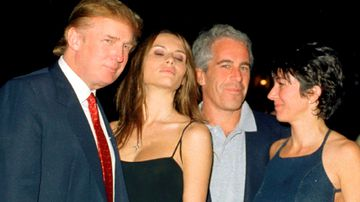 Donald Trump and his girlfriend (and future wife), former model Melania Knauss, financier Jeffrey Epstein, and British socialite Ghislaine Maxwell pose together at the Mar-a-Lago club, Palm Beach, Florida, February 12, 2000.