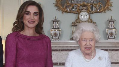 Queen Rania of Jordan meets with Queen Elizabeth II at Buckingham Palace.