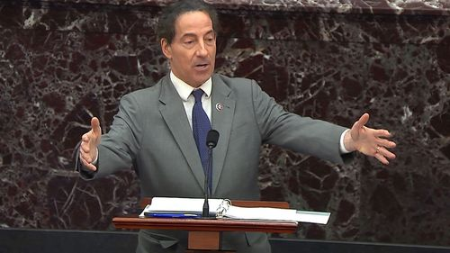 In this image from video, House impeachment manager Rep. Jamie Raskin, D-Md., speaks during the second impeachment trial of former President Donald Trump in the Senate at the U.S. Capitol in Washington, Wednesday, Feb. 10, 2021