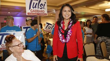 Congresswoman Tulsi Gabbard at her election night party in Honolulu earlier this month.
