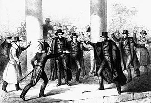 Illustration of the shooting of Andrew Jackson (Getty)