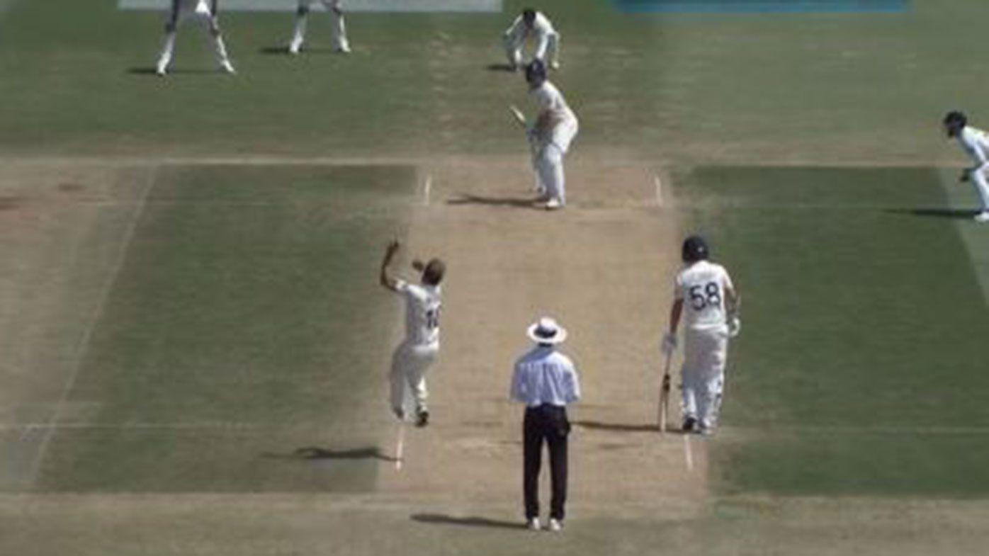 Jos Buttler is bowled against New Zealand.