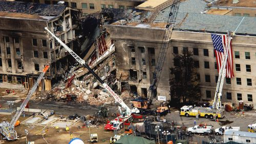 An aerial view of the damage at the Pentagon two days after Sept. 11, 2001.
