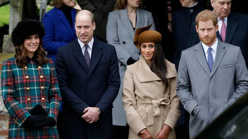 Kate, Duchess of Cambridge, Prince William, Meghan Markle, Prince Harry and Prince Philip arrive to the traditional Christmas Days service, at St Mary Magdalene Church in Sandringham. Picture: AP