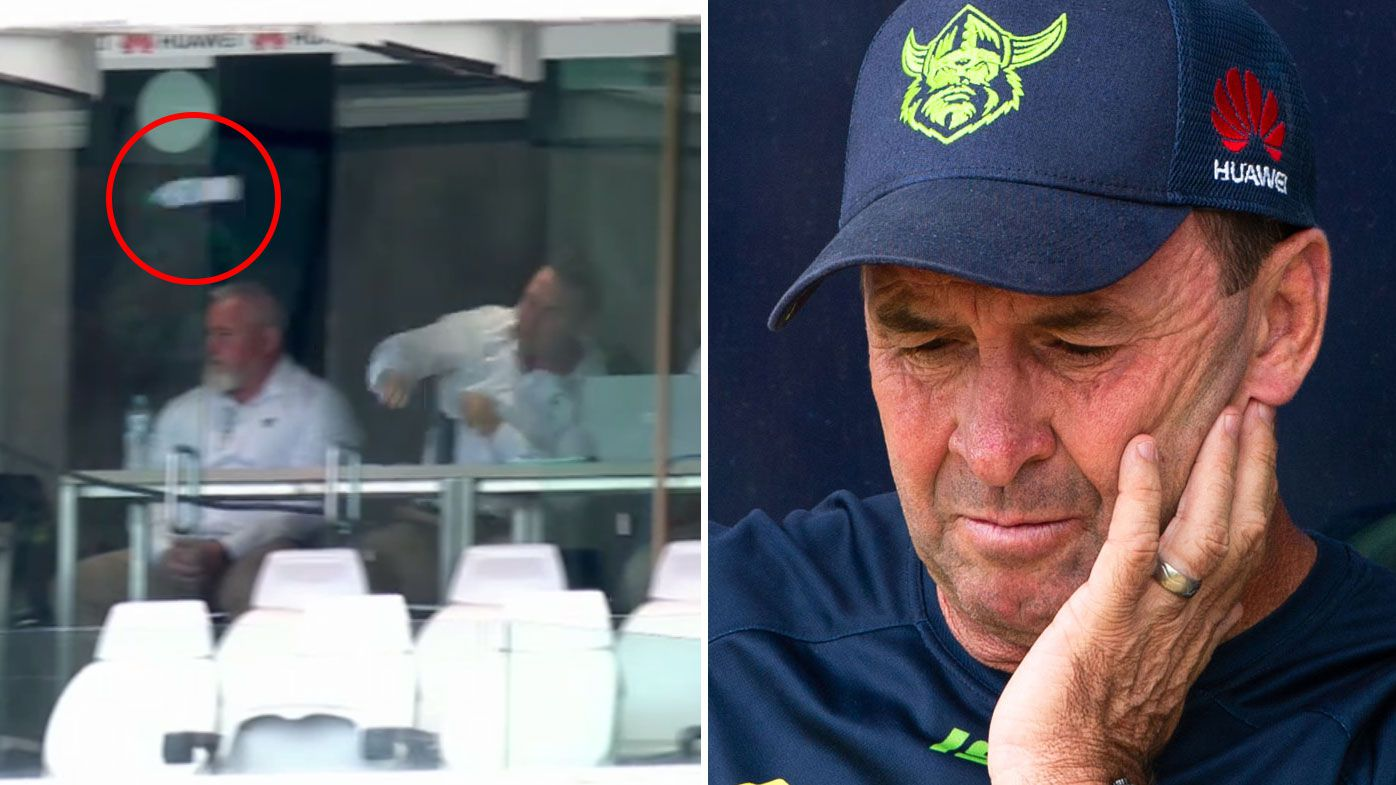 Ricky Stuart hurls his water bottle from the coach's box in frustration at GIO Stadium.