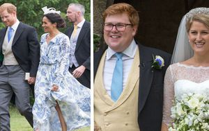 Prince Harry and Meghan appear relaxed and loved up at family wedding