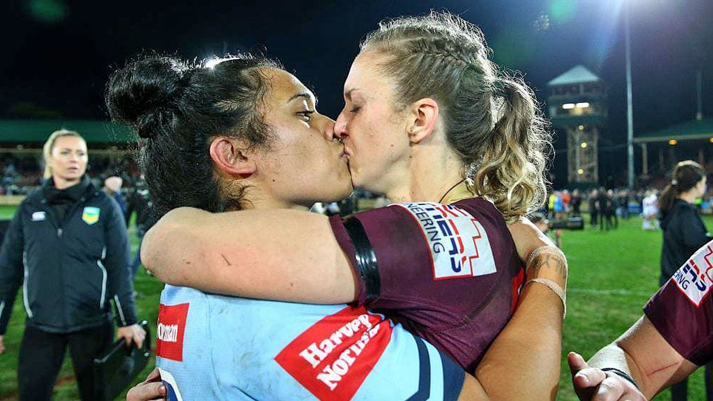 The kiss that went viral after the inaugural Women's State of Origin clash.