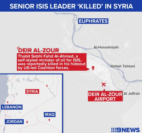 Map showing location where Thabit Sobhi Fahd Al-Ahmad of Islamic State was reportedly killed in Syria.