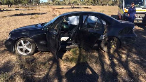 The car came to a halt after blowing a tyre. (NSW Police)