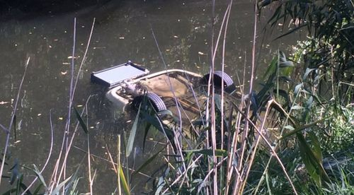 A car was found upside down in the River Torrens. (9NEWS)