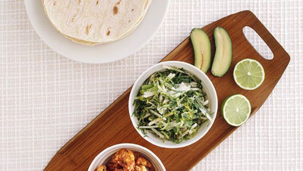 Prawn tacos with jicama slaw