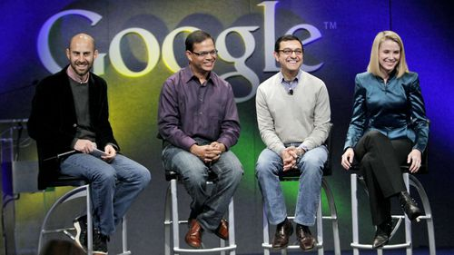 Amit Singhal (second from the left) announcing new features for the search engine in 2009.