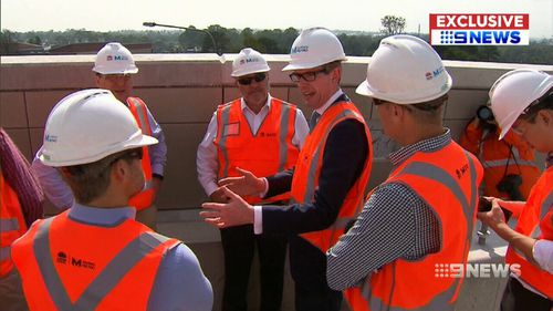 Representatives from the Transportation and Infrastructure Committe of Congress toured the North-West Metro in Rouse Hill. (9NEWS)