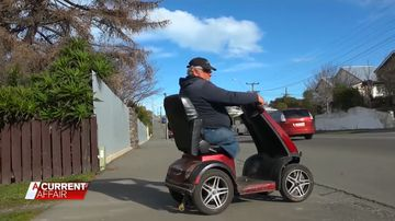 The double amputee led police on a wild chase through the streets of Timaru, all on his mobility scooter.