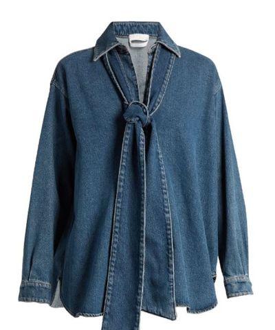 "Chloe pussy-bow blouse in denim, $599, <a href=""http://www.matchesfashion.com/au/products/Chlo%C3%A9-Tie-neck-denim-blouse-1052992"" target=""_blank"">Matchesfashion.com</a><br />"