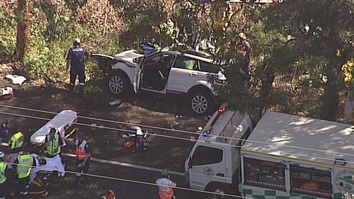 Emergency services were called to Wilfred Barnett Drive in Magenta, north of Gosford, after the two cars collided. Picture: 9NEWS.