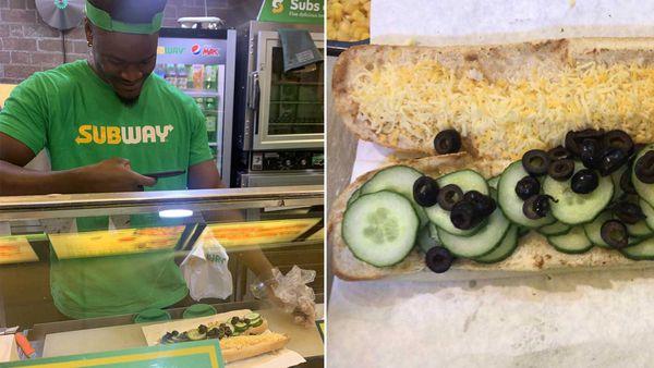 Subway staff member takes photo of sandwich