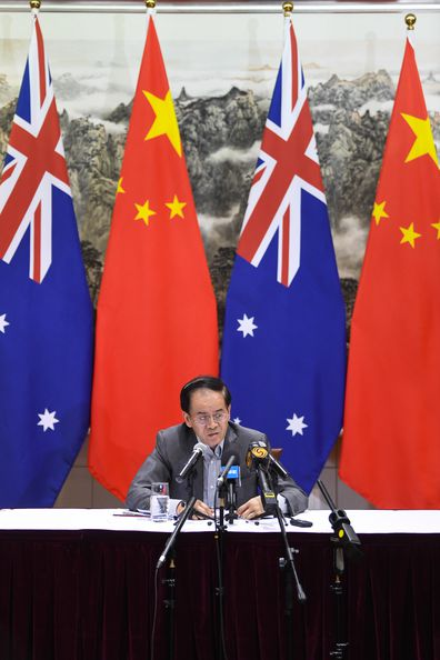 Chinese Ambassador to Australia Cheng Jingye speaks to the media during a press conference at the Ambassador's residence in Canberra, Thursday, December 19, 2019. (AAP Image/Lukas Coch) NO ARCHIVING