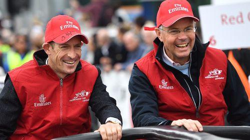 Marmelo jockey Hugh Bowman (left) and trainer Hughie Morrison. (AAP)