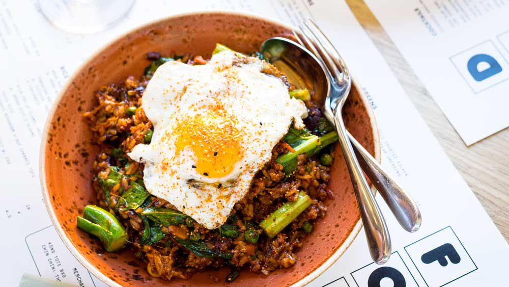 Kong kimchi fried rice with brisket and a fried egg