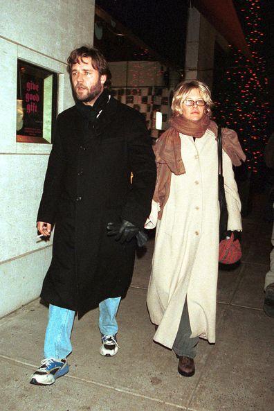 Russell Crowe and Meg Ryan in Manhattan November 22, 2000.