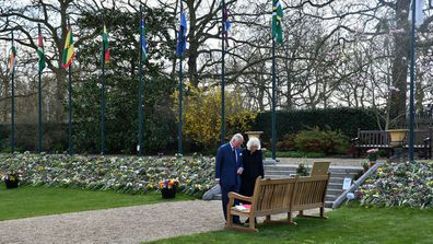 Prince Charles and Camilla, Duchess of Cornwall view tributes left for Prince Philip at Marlborough House Gardens