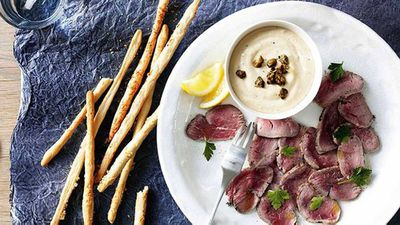 "<a href=""http://kitchen.nine.com.au/2016/05/16/18/33/tuna-dip-with-parmesan-grissini-and-cured-veal"" target=""_top"">Tuna dip with parmesan grissini and cured veal</a>"