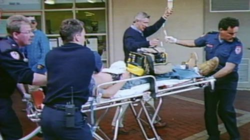 Emergency services at Geelong Mall shortly after the stabbing. (9NEWS)