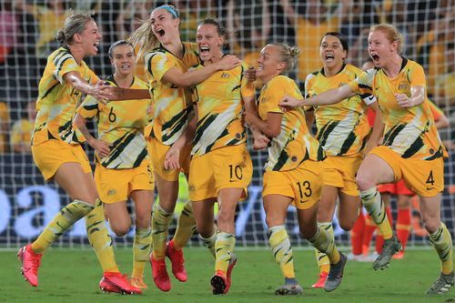The Matilda's celebrate a goal against China in Olympic qualifier