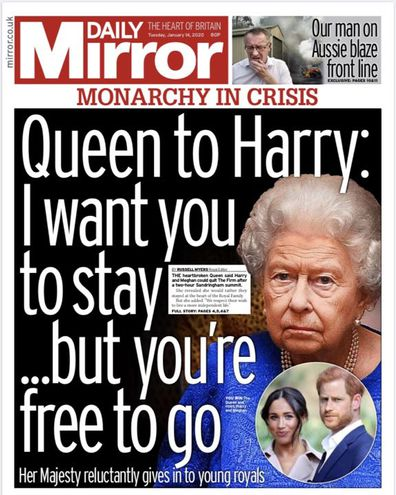 Daily Mirror UK front pages Prince Harry Meghan Markle royal exit